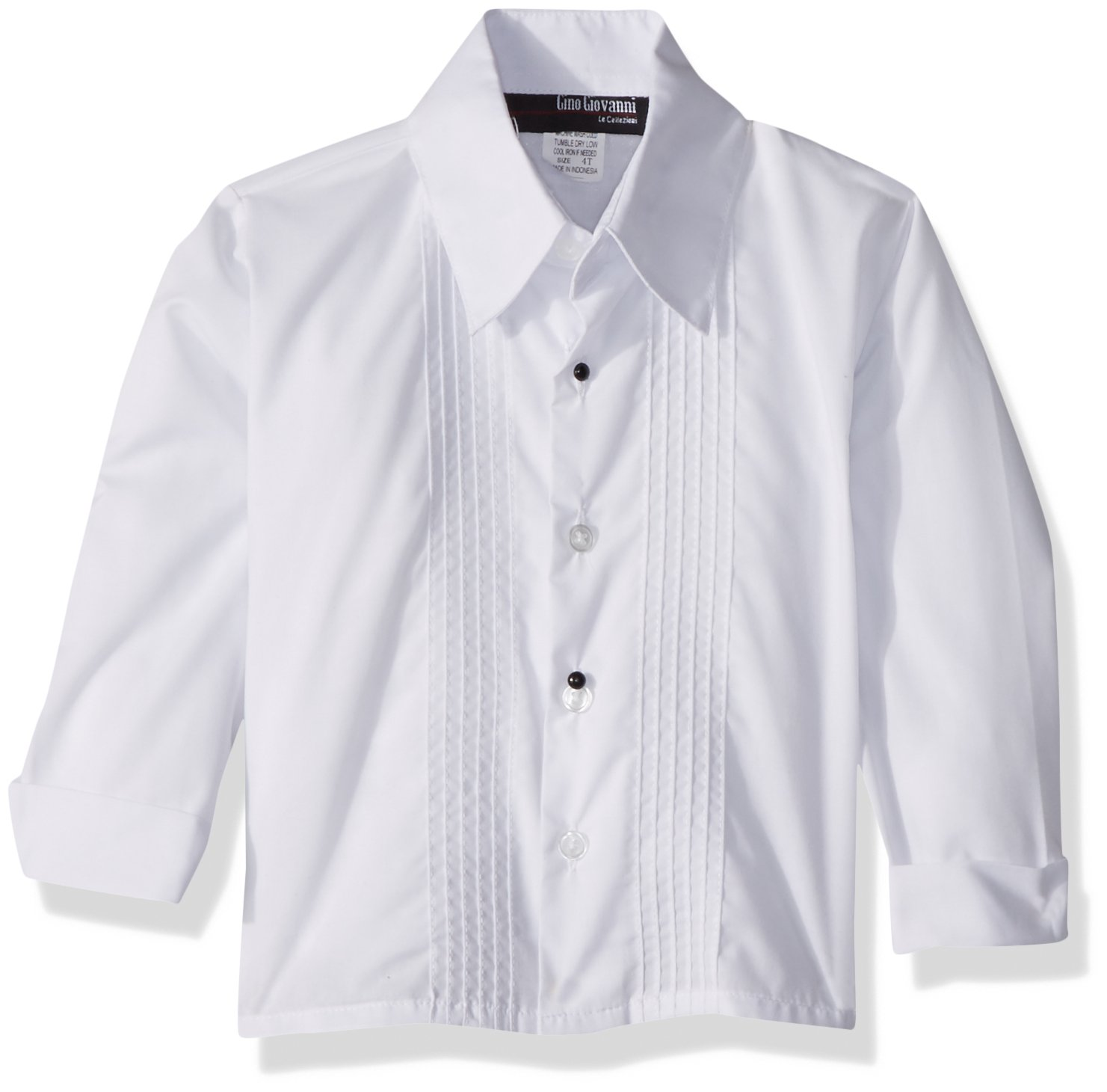 Boys Formal Long Sleeve Tuxedo Shirt G110 (Small/3-6 months, Ivory) by Gino Giovanni