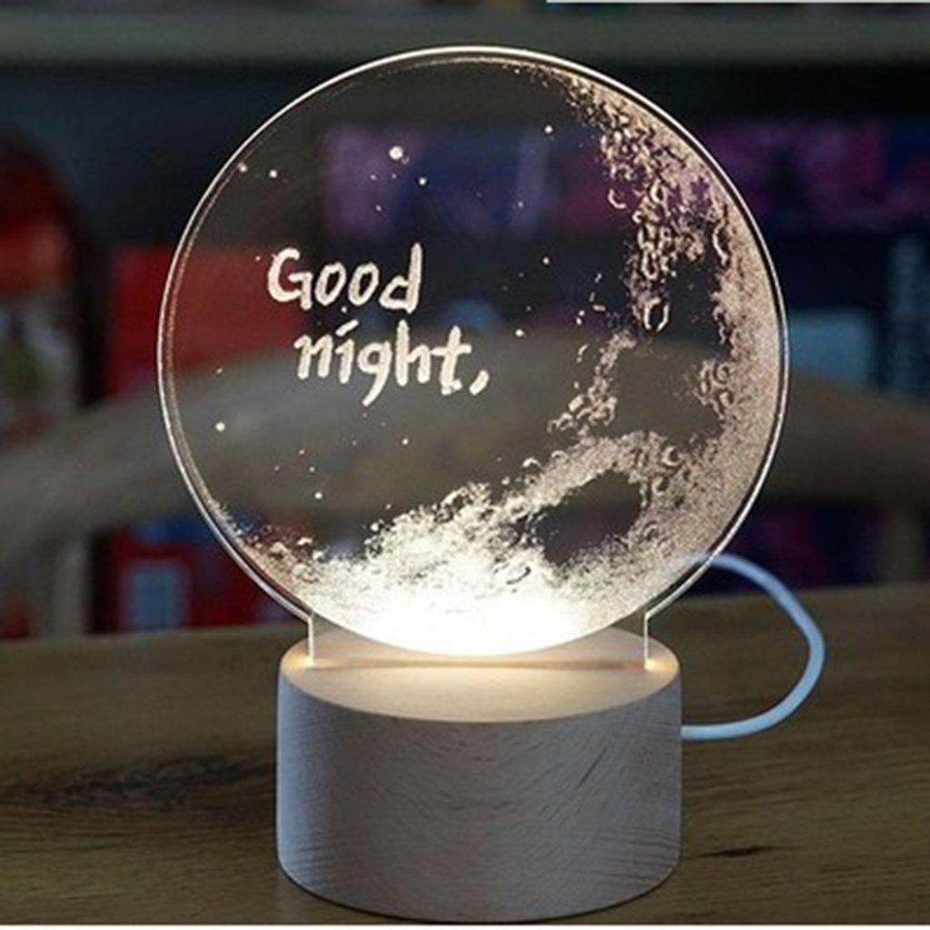 Xi Mesa Man Shop lámpara de Mesa Xi lámpara hogar Barra Transparente Lámparas de ilusión óptica 3D decoración Navidad Regalos Luna Tierra Astronauta Galaxia USB A+ (Color : Good Night) 9fe92a