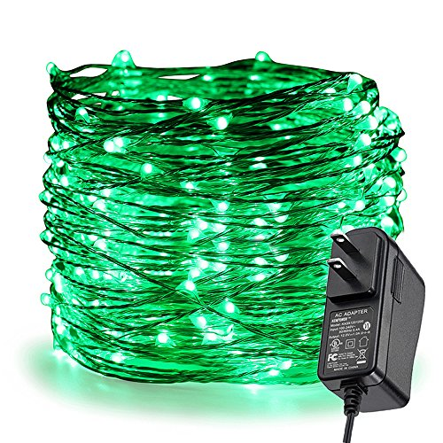 ER CHEN Fairy Lights Plug in, 99Ft/30M 300 LED Silver Coated Copper Wire Starry String Lights Outdoor/Indoor Decorative Lights for Bedroom, Patio, Garden, Party, Christmas Tree (Green) ()