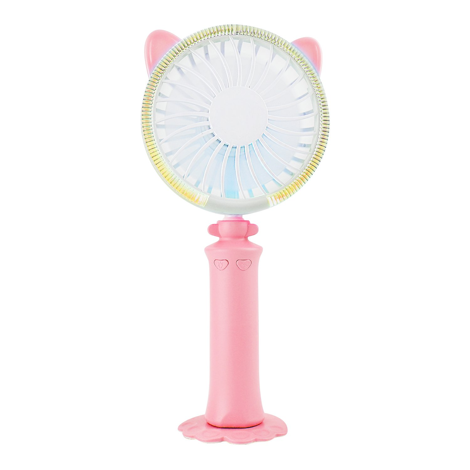 VOTONES Portable Cute Cat Fan,Mini LED Light Handheld Personal Fan Built-in 1200mA USB Rechargeable,with Base Adjustable Angle&Wind Suitable to Travel,Home,Office Desk for Kids Adults(Pink)