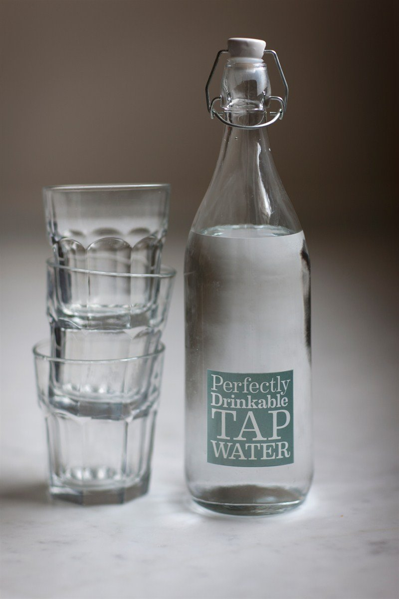 PERFECTLY DRINKABLE TAP WATER Retro Style GLASS BOTTLE with SWING TOP Ceramic Top