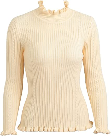 Womens Plain Polo Neck Knitted Long Sleeve Hip Length Ladies Jumper Sweater