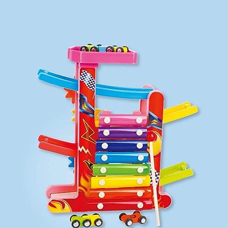 LanLan 3 en 1 Kids Slot Track Car Toys Escalera Deslizamiento Slot Track de Madera Juguete Educativo Juguetes de Navidad/de Reyes Magos para los niños: Amazon.es: Hogar