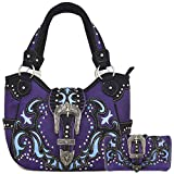 Western Style Belts Buckle Studded Concealed Carry Purse Laser Cut Handbags Women Shoulder Bag Wallet Set (Purple Set)