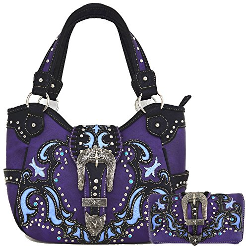 Western Style Belts Buckle Studded Concealed Carry Purse Laser Cut Handbags Women Shoulder Bag Wallet Set (Purple Set) by Western Origin
