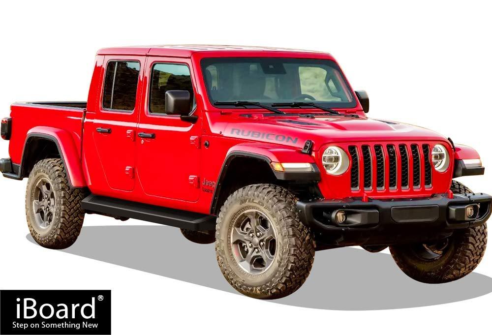 APS Premium 6in Black iBoard Running Boards Custom Fit 20-21 Jeep Gladiator Crew Cab