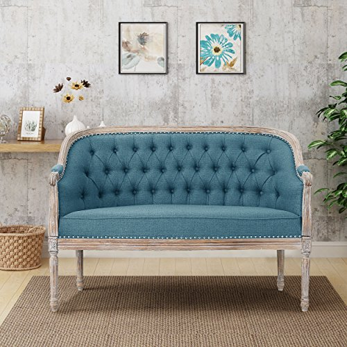 Christopher Knight Home 303542 Faye Tufted Loveseat, Blue/Antique