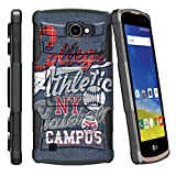 MINITURTLE Case Compatible w/ LG K4 |Optimus Zone 3| LG Spree |LG Rebel Cases | [Clip Armor] Impact Hard Rubber Durable Unique Creative Cover + Belt Clip - Blue College Sports