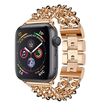 9d4a7a4da453 Amazon.com  Amaping New for iWatch 4 Double Row Cowboy Chain Metal Strap  Watch Band Replacement Bracelet For IWatch Apple Watch Series 4 (44mm)  (Rose Gold)  ...