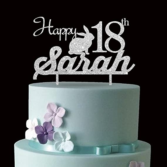 Amazon KISKISTONITE 18th Cute Rabbit Adult Ceremony Happy Birthday Cake Toppers Name Custom Personalized Decoration Favors Party