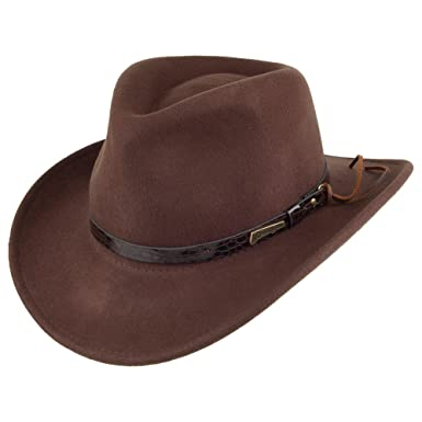 f48b356d Village Hats Indiana Jones Hats Wool Outback - Brown: Amazon.co.uk: Clothing