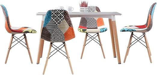 Joolihome Eiffel - Mesa de comedor con juego de 4 sillones Eiffel ...