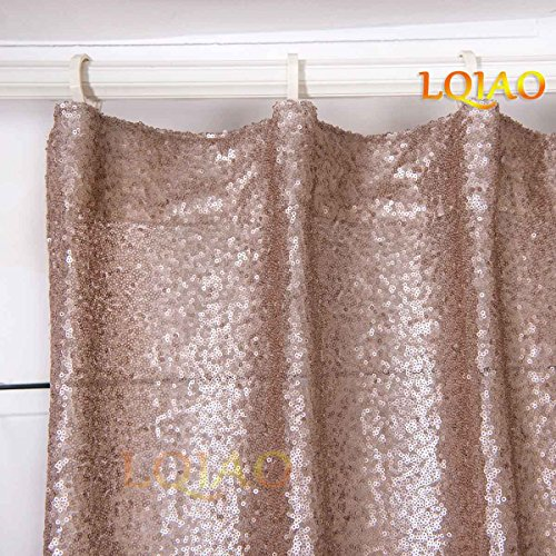 2PCS Champagne Sequin Curtain Backdrop- W60xL250cm Shimmer Sequin Fabric Photography Backdrop Luxury Curtains for Bedroom Window Curtains Living Room Elegant Drapes Curtains ¡­