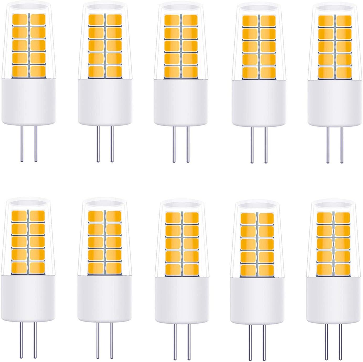 YWX Bombillas LED G4 3W Equivalente a 20W 30W Bombillas Halógenas Incandescente,Blanco Cálido 3000K 270Lm,360 °ángulo de Haz,AC/DC 12V Pack de 10