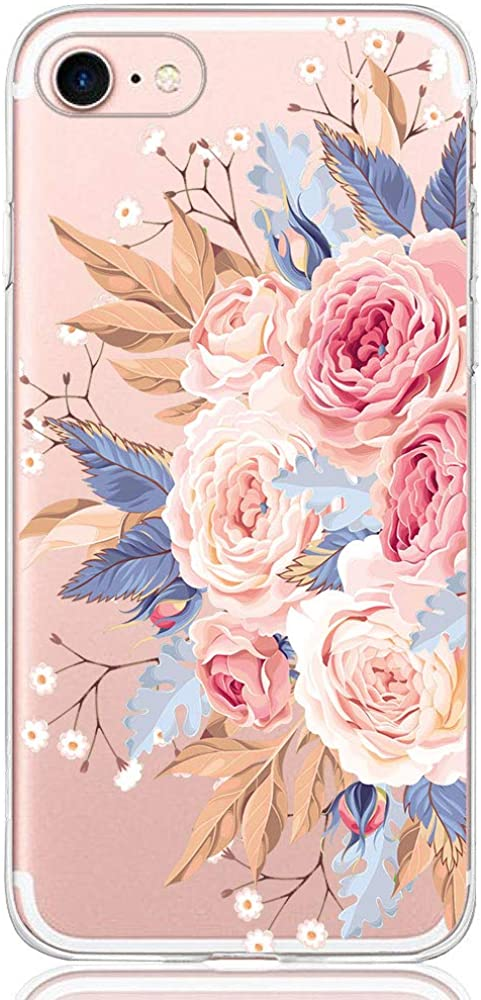 Pacyer Funda compatible con iPhone 7, Suave Carcasa compatible iPhone 8 Plus transparent Case Cover Silicona Funda compatible iPhone 7/8 Plus Diseño Rosa flower