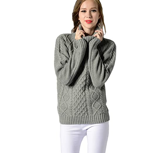 Smallrabbit Womens Knit Sweaters Korean Design Turtleneck Ribbed Cable Knit  Sweater Jumper at Amazon Women s Clothing store  418b87512