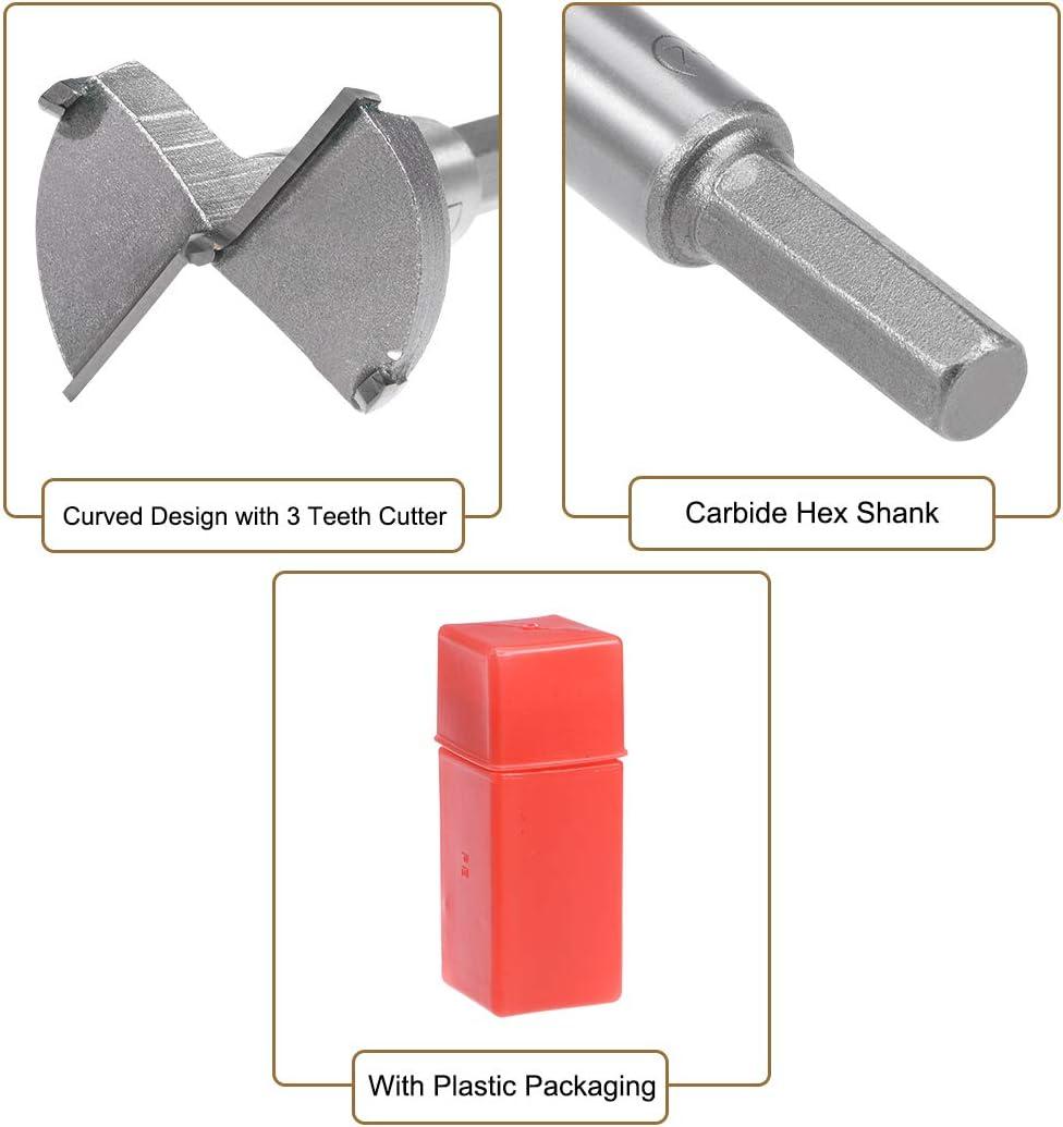Sourcingmap Forstner punta de carburo, v/ástago hexagonal, para herramienta CNC de madera contrachapada y madera contrachapada Broca para perforaci/ón de madera