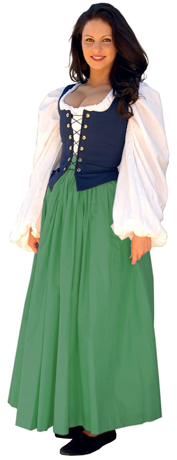 Renaissance Gathered Soft Cotton Kelly Green Skirt by Sofi's Stitches - DeluxeAdultCostumes.com