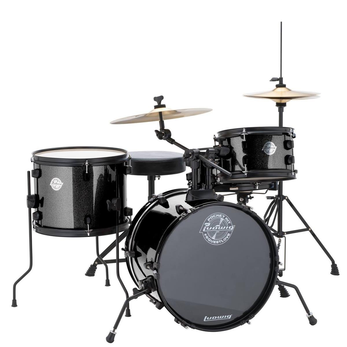 Ludwig LC178X016 Questlove Pocket Kit 4-Piece Drum Set-Black Sparkle Finish, inch ( by Ludwig
