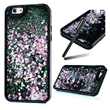 iPhone 6S Case,iPhone 6 Glitter Case,iPhone 6 Bling Cover,SKYMARS 3D Creative Funny Liquid Quicksand Dynamic Flowing Floating Bling Glitter Sparkle Hard Bottom PC + Flexible Soft TPU Bumper Case for iPhone 6 / 6S Green pink Love