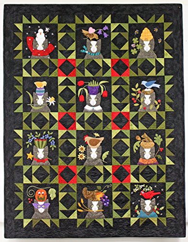 Tuxedo's Tales Quilt Block Bundle - Instructions for all Twelve Patterns (January through December) with the Correlating Thread Sampler from Presencia