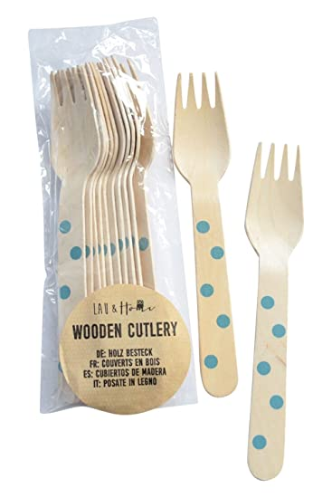 Wooden Disposable Forks Dots - Blue 3 Packs (36 pieces)