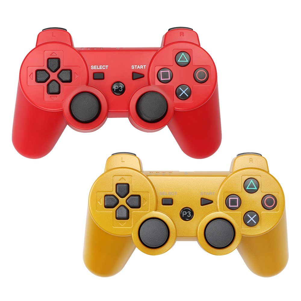 Amazon.com: PS3 Controller Wireless Playstation 3 Remote Dualshock  Bluetooth Gamepad (Red+Gold): Computers & Accessories