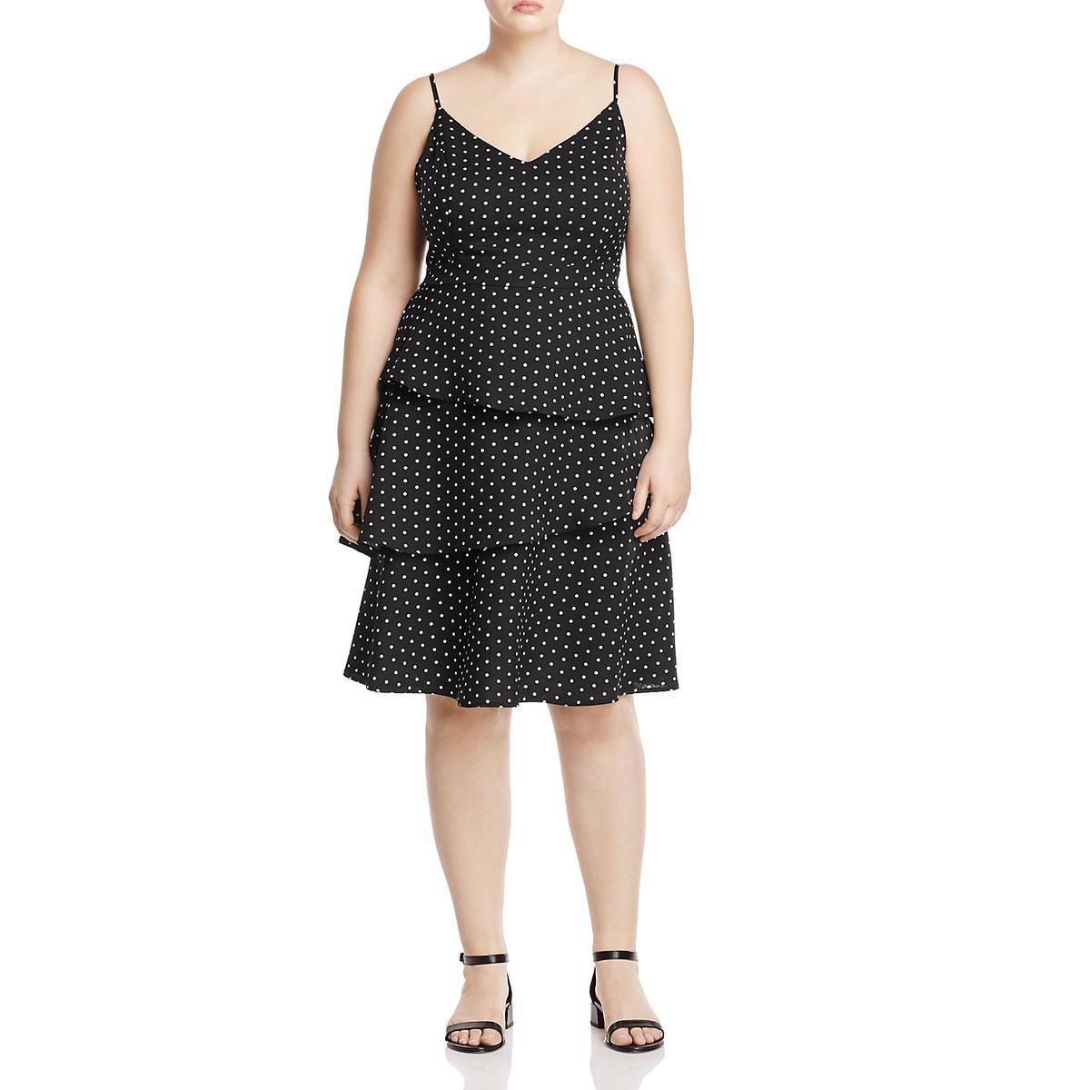 XS Size 14 Spotty Ruffle Plus Size Dress in Black