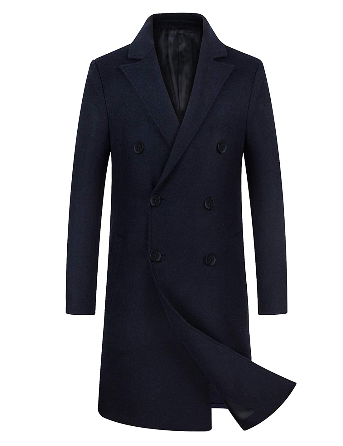 Men's Vintage Style Coats and Jackets zeetoo Mens Wool Trench Coat Winter Slim Fit Wool Jacket Long Peacoat Overcoat $87.99 AT vintagedancer.com