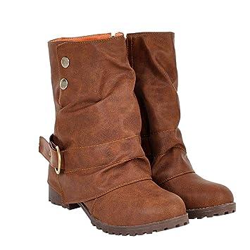 Schnalle Zipper Boots Booties Hmeng Ankle Calf Damen Mid F3TclK1J