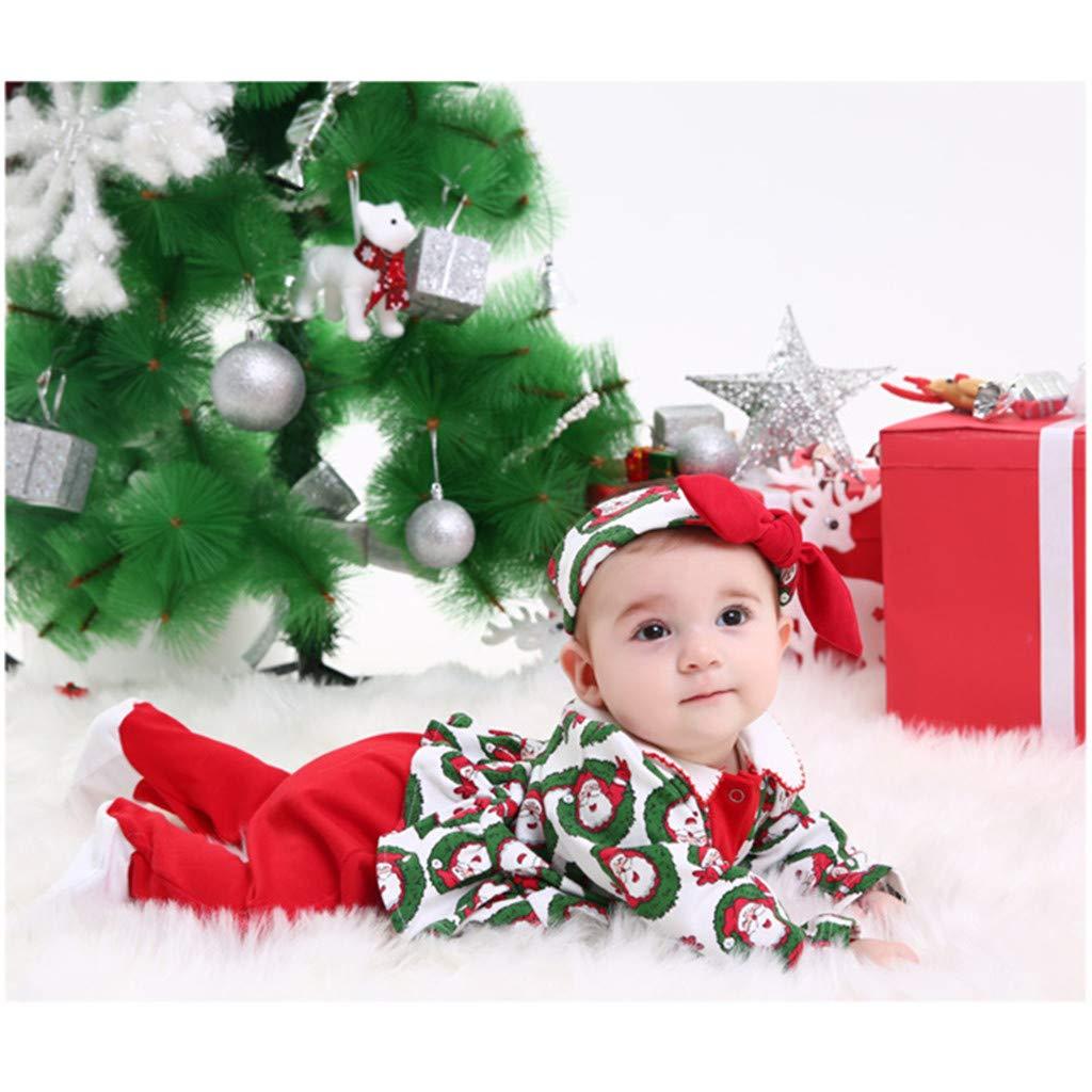 Bebé Niñas Ropa de Navidad Mameluco con Venda Pijama de Algodón Pelele Trajes 0-3 Meses: Amazon.es: Bebé