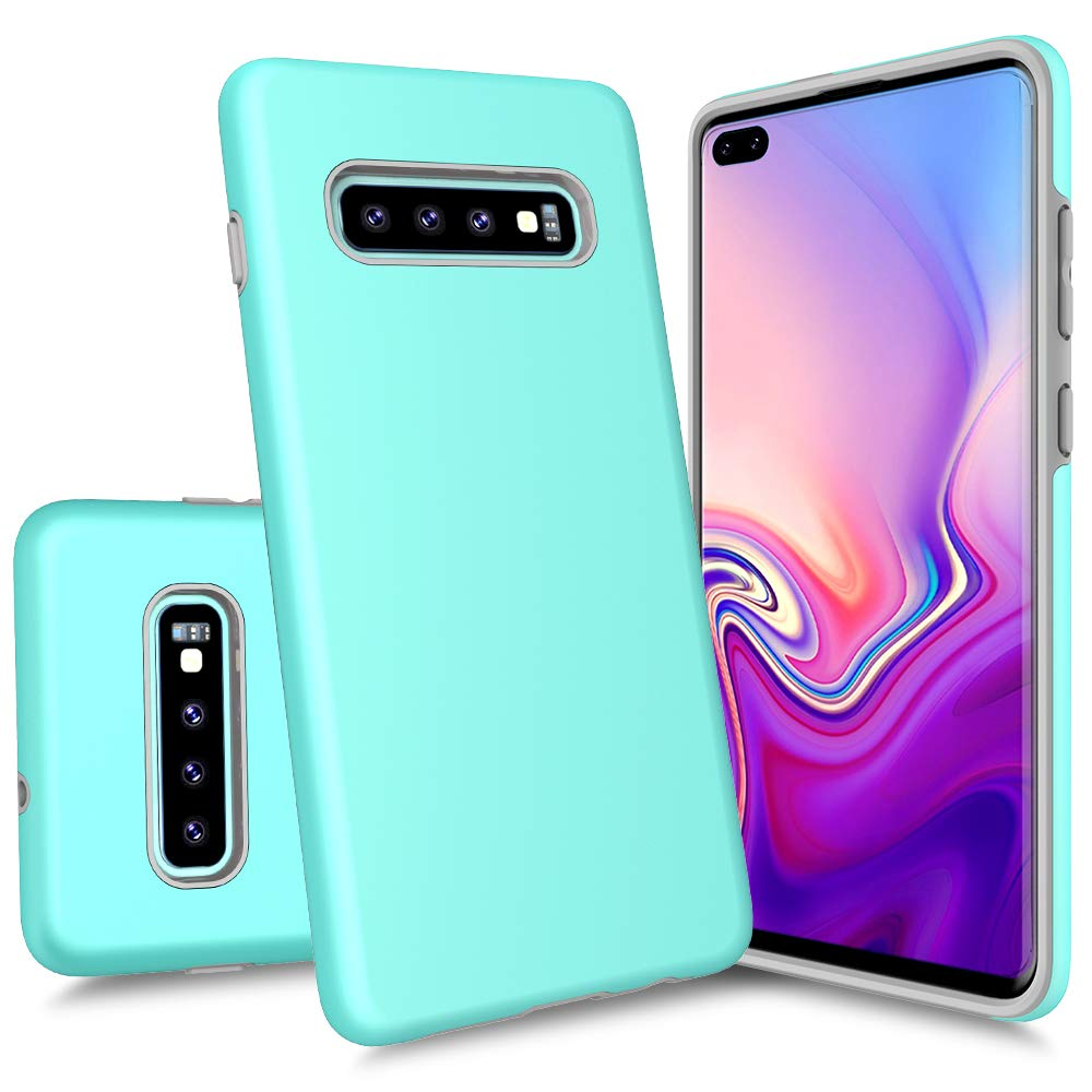 Galaxy S10 Plus Case, Androgate [Pearl Series] Hybrid Matte Protective Back Cover Bumper Case for Samsung Galaxy S10 Plus, Mint Green