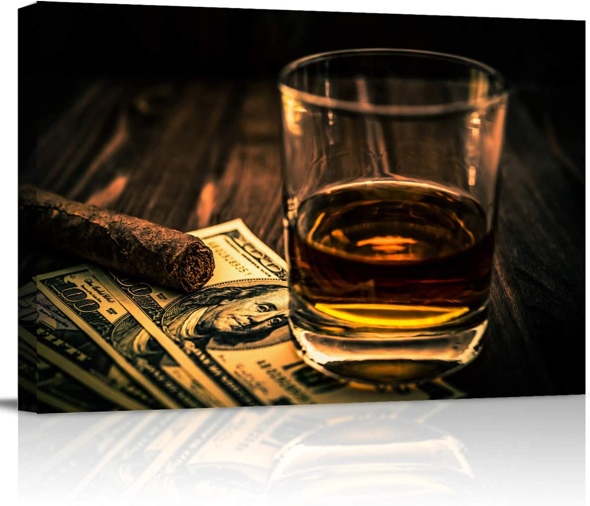 Canvas Print Wall Art - Cigar and Wine Whiskey Pattern - Wall Decor Modern Artwork Paintings Pictures for Living Room Stretched and Framed Ready to Hang - 12
