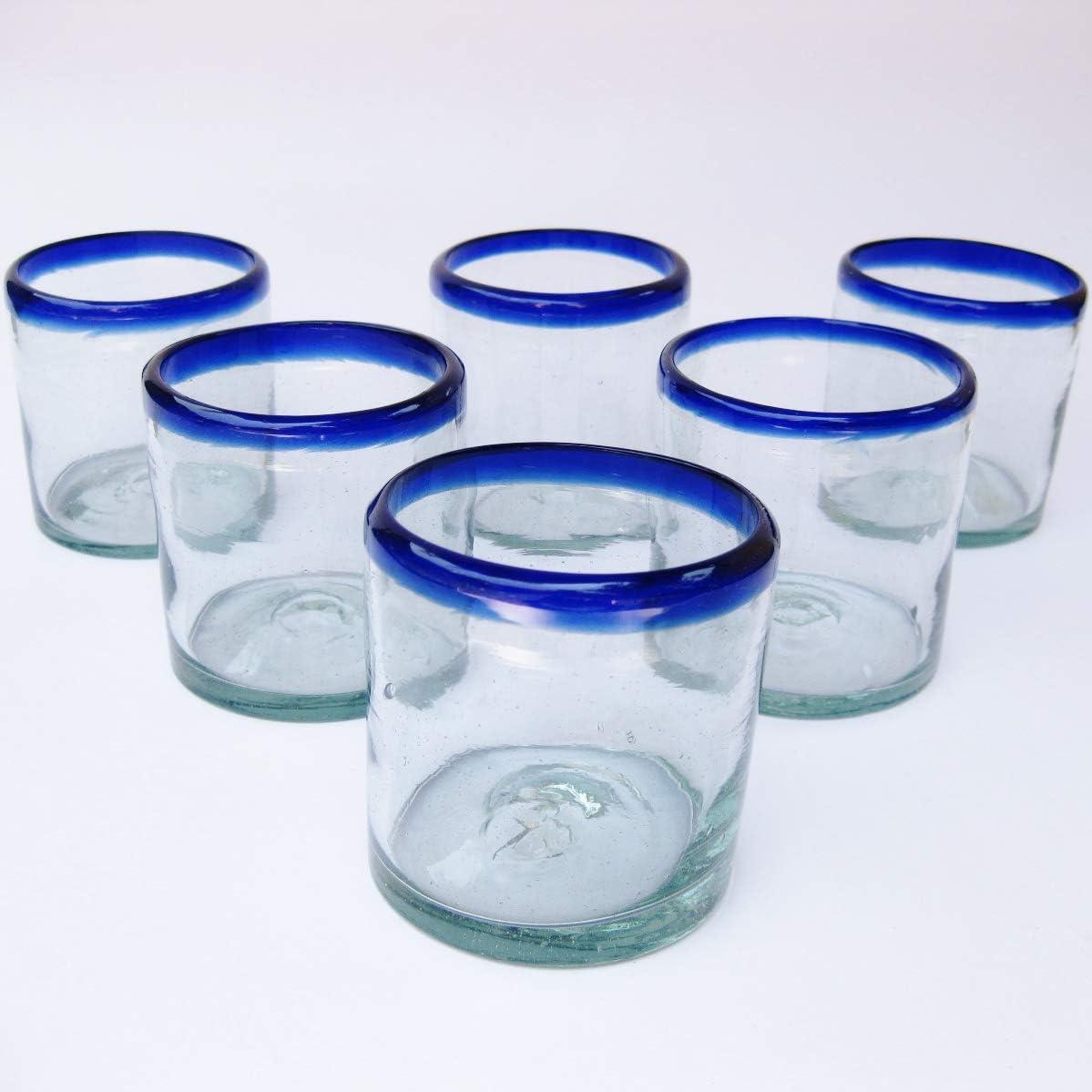 MEXHANDCRAFT Mexican Blown Glass DOF Rock Glasses Cobalt Blue Rim (Set of 6)