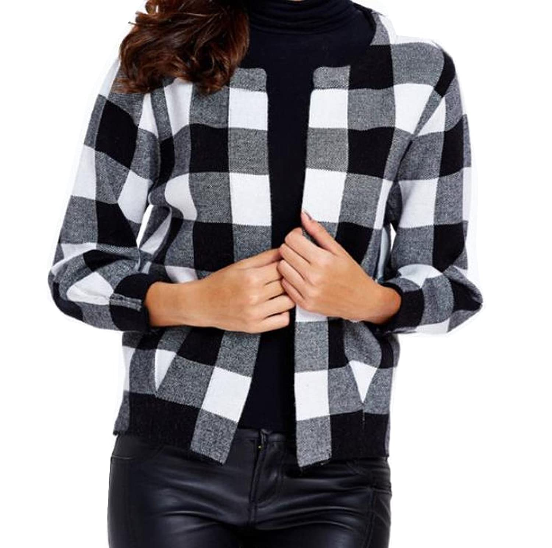 Comfy Women's Round Neck Fashion Cozy Wild Basic Plaid Cardigan Sweater Tops