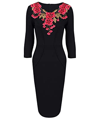 d035e623c49 Aibwet Women s Vintage Floral Embroidery 3 4 Sleeve V Neck Knee Length High  Waist Business