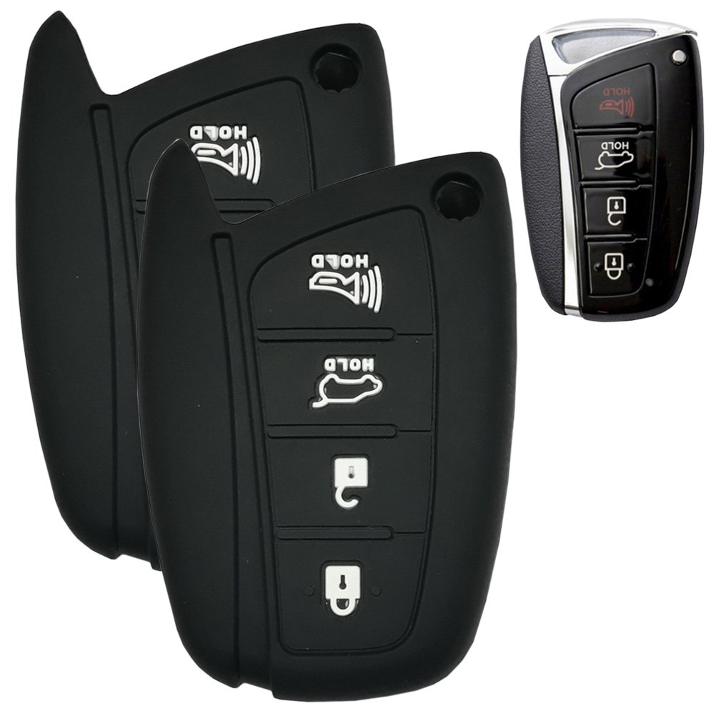 Hanmin Motors Car Smart Key Case Silicone Rubber Fob Skin Protector Compatible with Black 2 Pieces # 20 Hyundai Genesis 15 16 Santafe 13 14 15 Equus 14 15 Azera 15