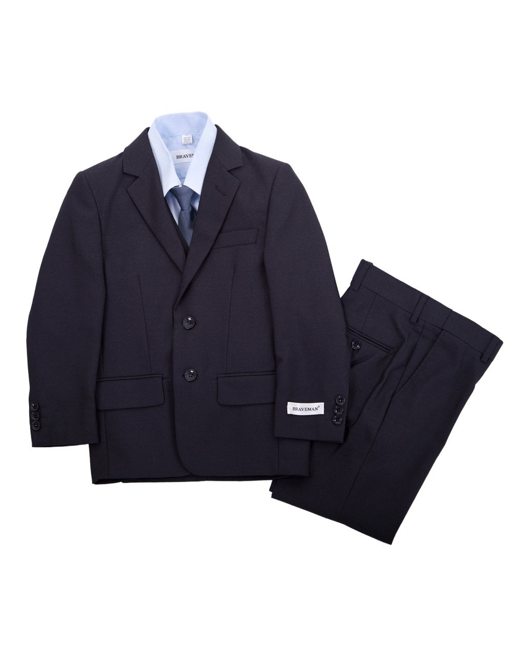 Navy Blue Boys Complete Classic Suit Set, Pleated Pants, Vest, Shirt, Tie & Jacket