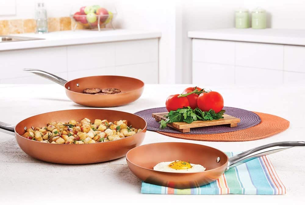 Copper CHef 3-Piece Non-Stick Fry Pan Set, 8 Inch, 10 Inch, and 12 Inch: Kitchen & Dining
