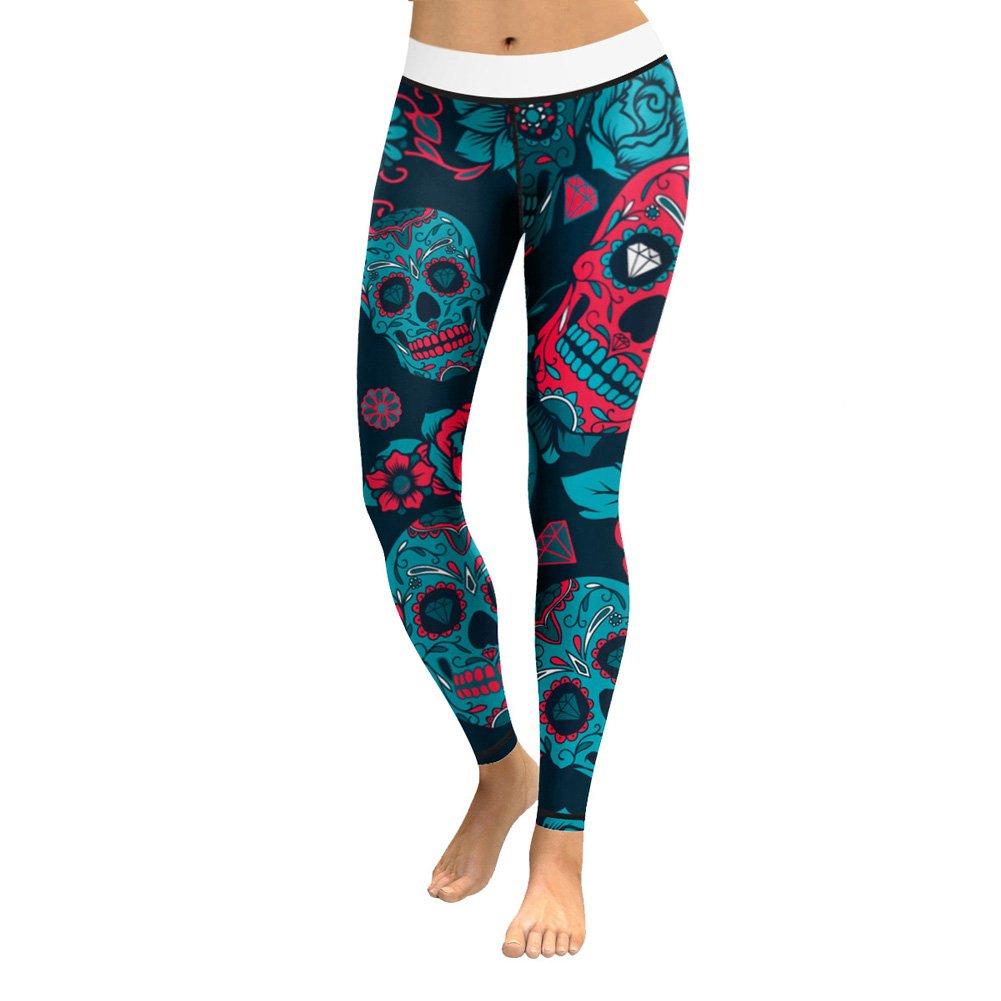 Lcoco/&Dream Printed Yoga Pants Women Anti-Sweat Bodybuilding Sport Skull Leggings Dry Fit