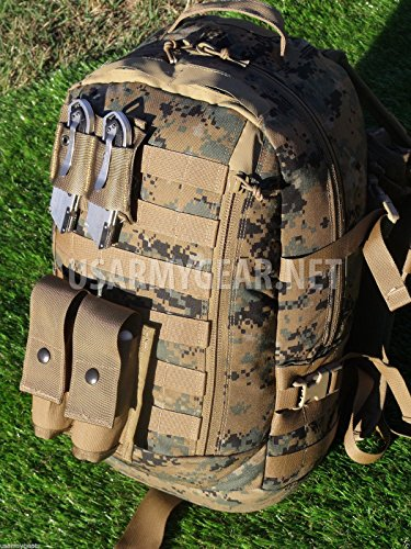 (New Made in USA Army Military Tactical Arc'teryx Propper USMC ILBE Digital Camo Woodland Camouflage Marpat Marine ASSAULT 3 DAYS BACK PACK + Coyote POUCHES Flag by US Goverment GI)