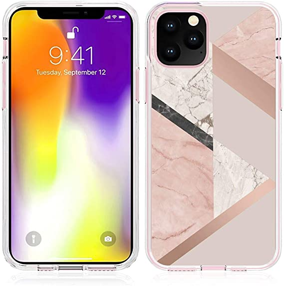 Amazon Com Transparent Phone Case Fits For Iphone 11 2019 6 1 Version Rose Gold Pink Marble