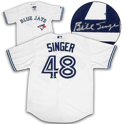 online store d183e 5947e Bill Singer Toronto Blue Jays Autographed White Replica MLB ...