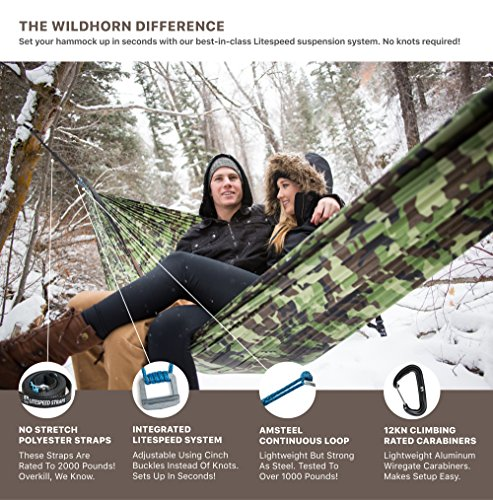 Outpost Camping Hammock With Adjustable LiteSpeed Cinch Buckle Suspension System- Includes 11′ 100% Polyester Tree Straps, Wire Gate Carabiners- Single or Double Size- 100% Ripstop Parachute Nylon