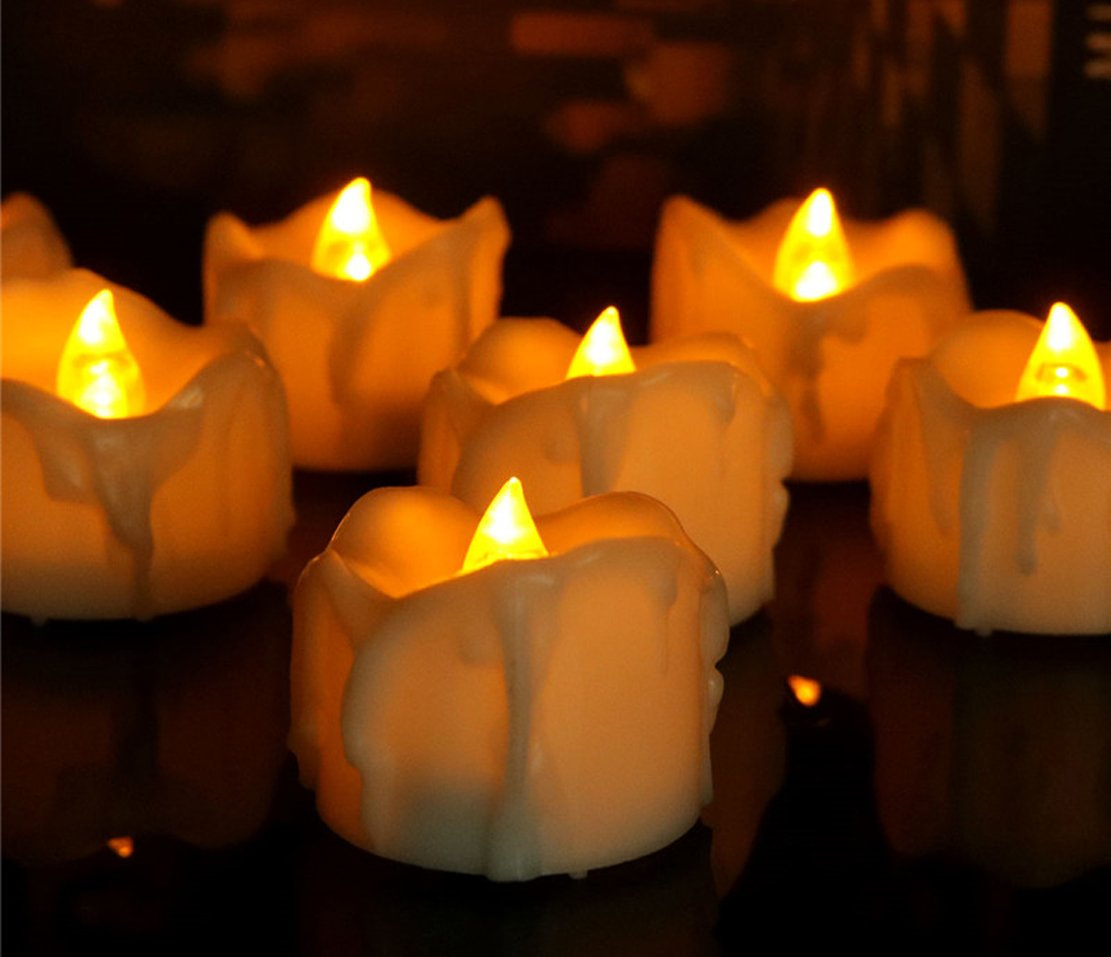 12pcs Votive Timer Candles Tealights Flameless Flickering Amber Yellow Led Candles for Halloween Christmas Thanksgiving Decorations Beauty Collector