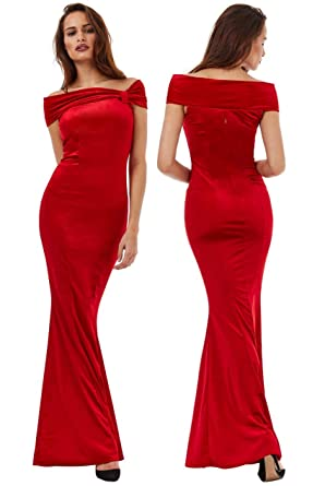 Goddiva Red Velvet Bardot Bow Fishtail Maxi Evening Dress Prom Bridesmaid Ball (10)