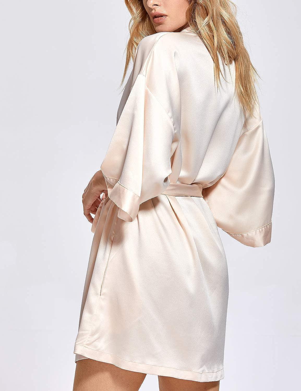 Dobreva Donna Vestaglia Scollo a V da Notte Kimono Corto in Raso