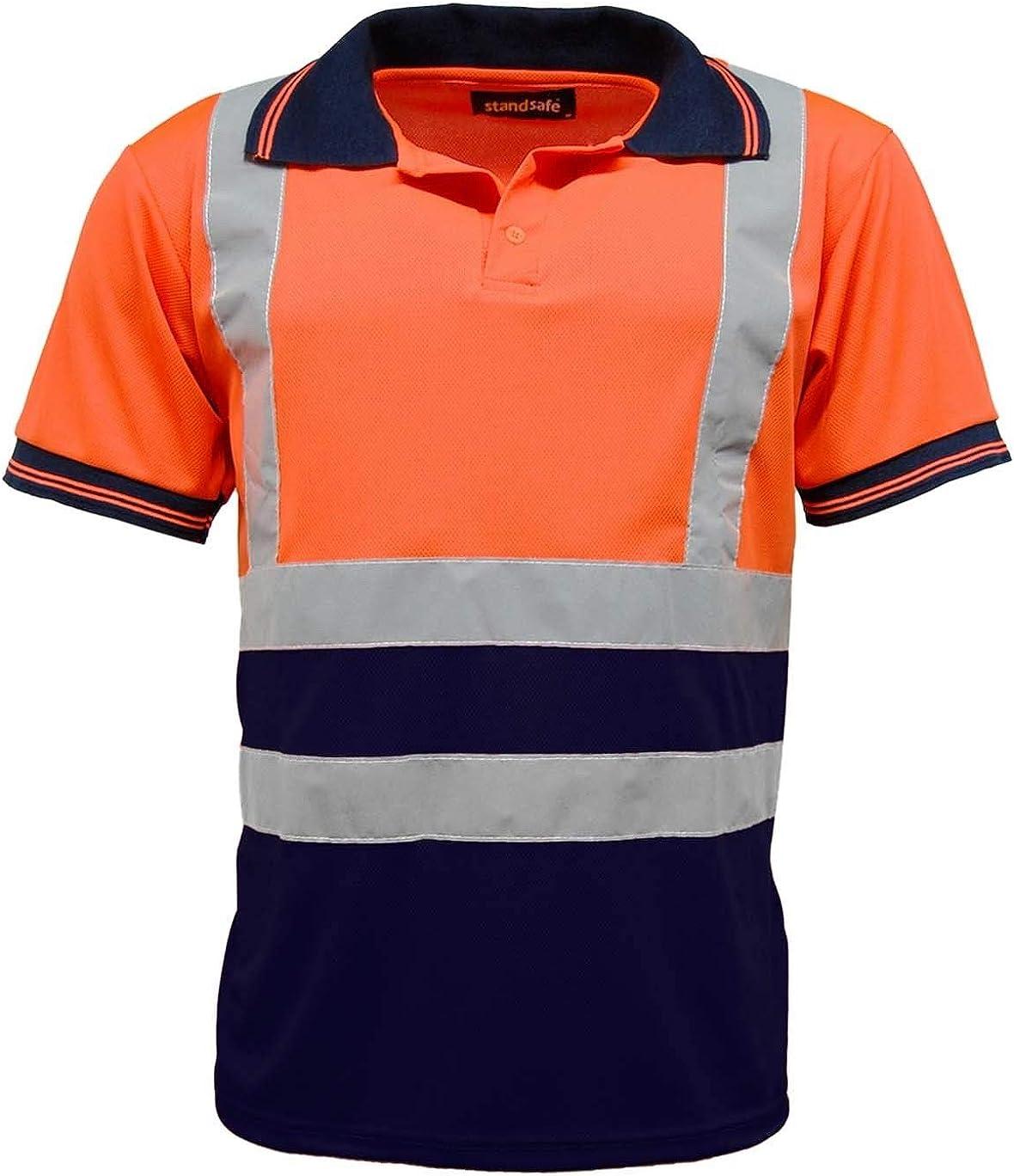 5 Pack Mens Polo Shirts Hi Vis High Viz Visibility Short Sleeve Safety Shirt Work-wear