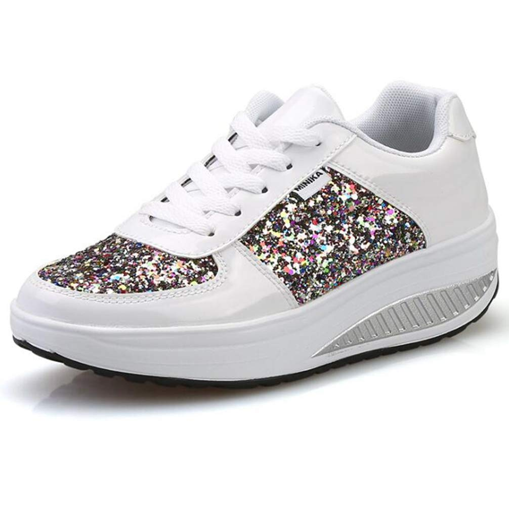 White Wallhewb Women Cool Glitter Sneakers Spring Autumn Sequin Lace Up Wedges Casual shoes Patent Leather Walking shoes Leg Length Elegant Leg Length Bling Fashion Reasing White 6.5 M US shoes