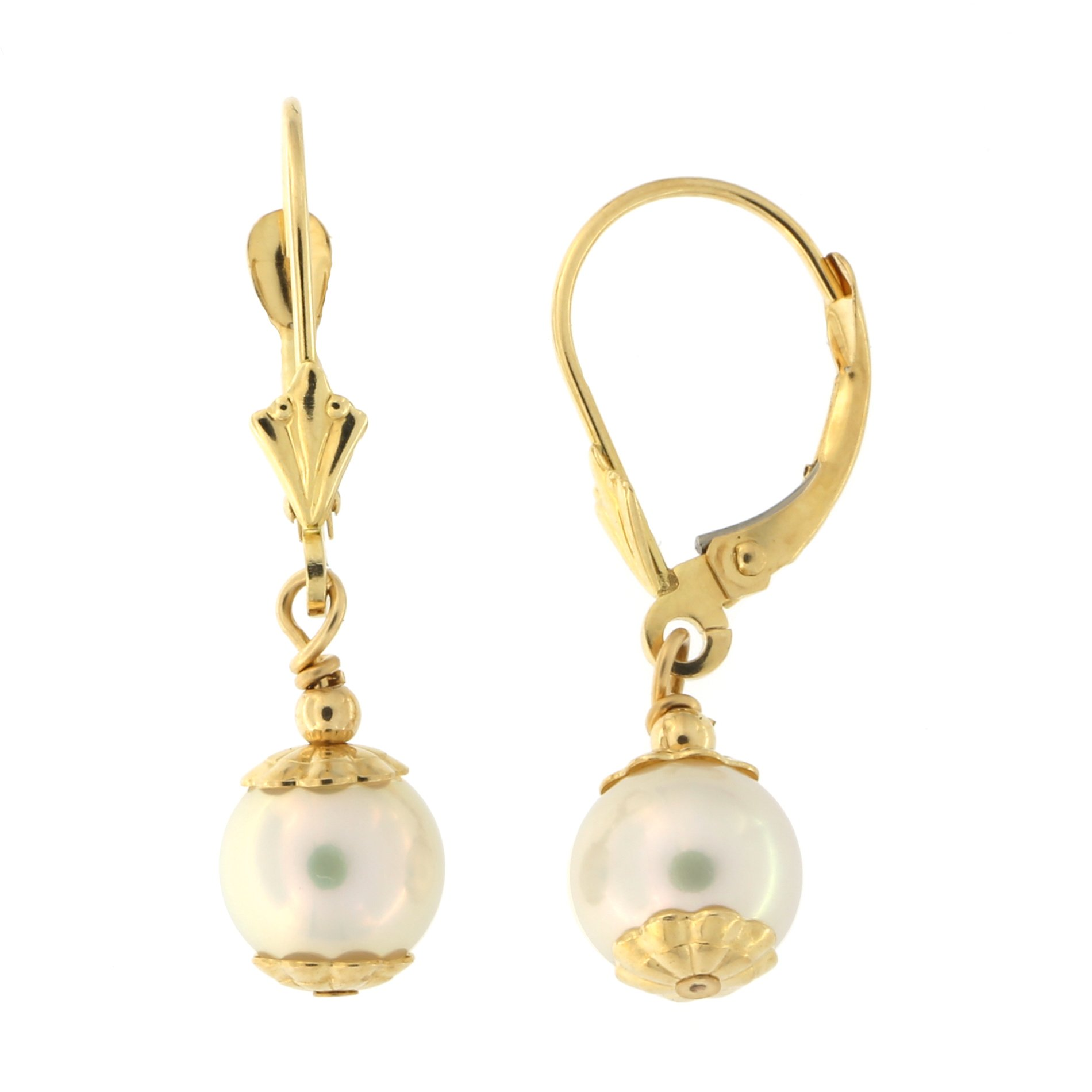 14k Yellow Gold 7mm Freshwater Cultured Pearl Leverback Dangle Earrings with Floral Caps